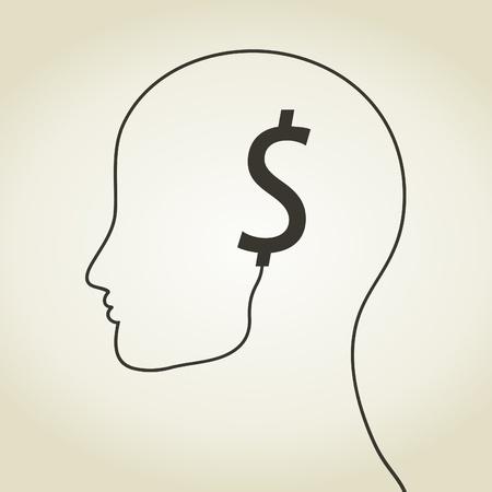 Dollar an ear on a head. A vector illustration Stock Vector - 22007774