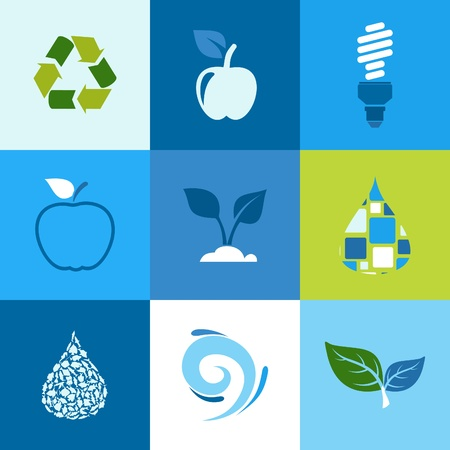 Set of icons ecology. A vector illustration