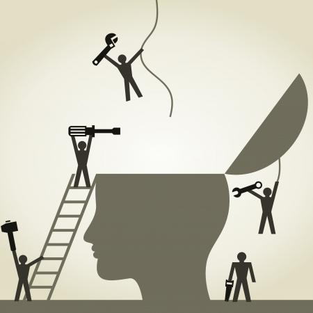mente humana: Gente reparar una cabeza. Una ilustraci�n vectorial