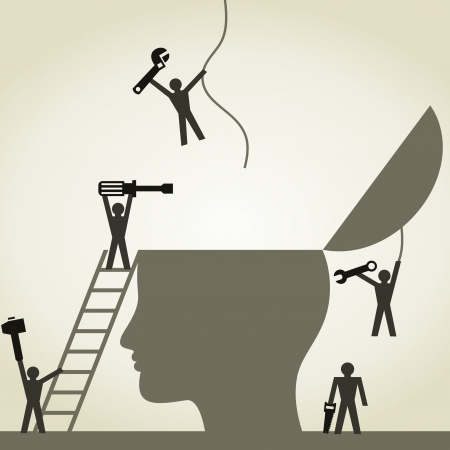 Menschen reparieren Kopf. Ein Vektor-Illustration