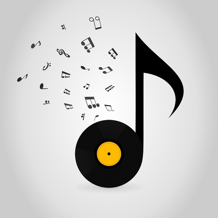 Vinyl in the form of the note. A vector illustration