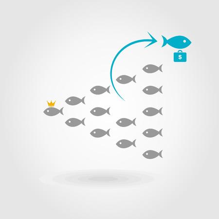Fish left crowd illustration Vector