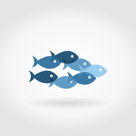 The flight of fishes floats on a grey background. A vector illustration Vector