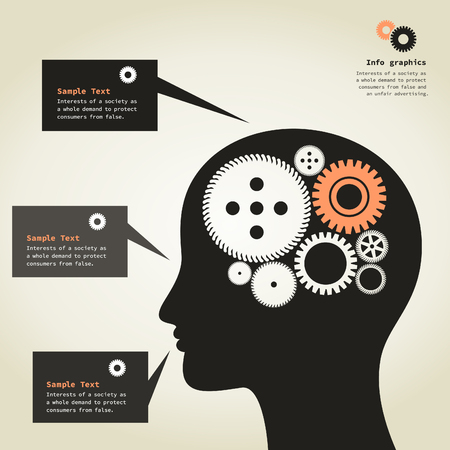 head gear: Gear wheels turn in a head. A vector illustration Illustration