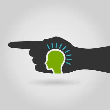 neanderthal man: The hand specifies a direction. A vector illustration