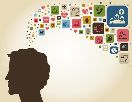 ringlet: The man thinks of communication. A vector illustration Illustration