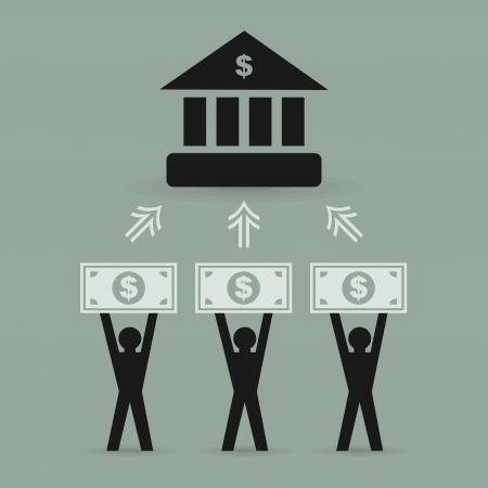 contribution: The contribution of money to bank. A vector illustration
