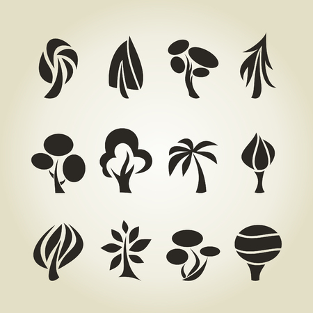aspen leaf: Set of icons of trees. A vector illustration