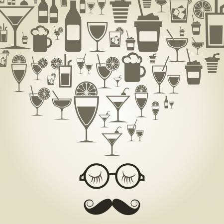 The man with a big moustache thinks of alcohol. An illustration Vector