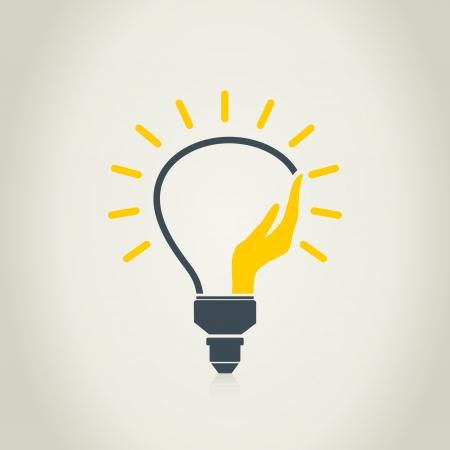 Hand in a bulb. A vector illustration Vector