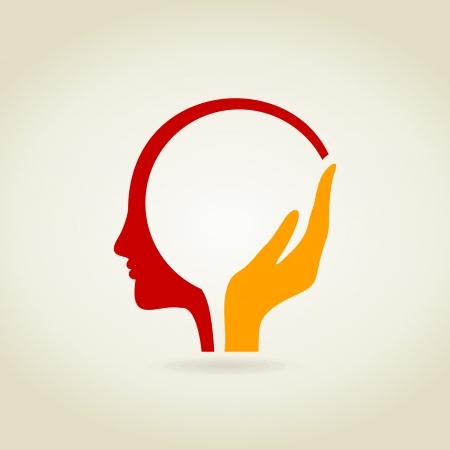 Hand in einem Kopf. Eine Vektor-Illustration