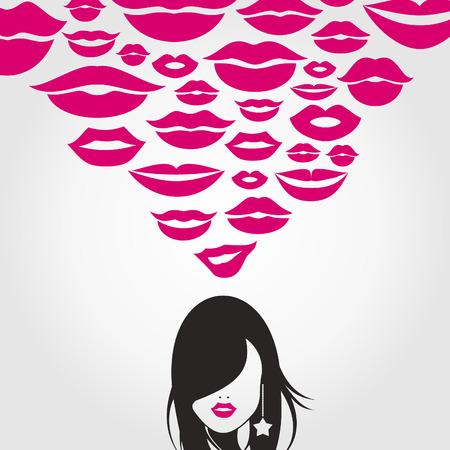 claret red: La ni�a piensa en un beso. Una ilustraci�n vectorial