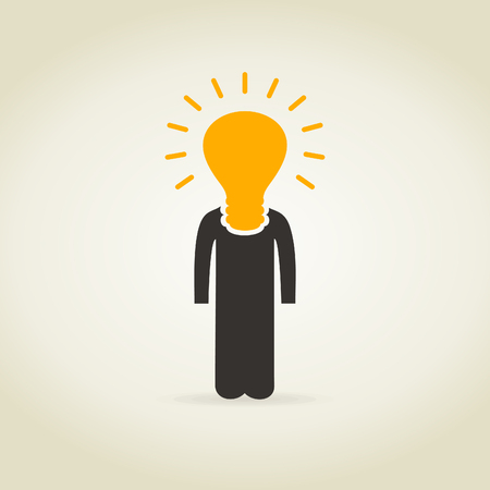 Bulb a head of the person. A vector illustration Vector