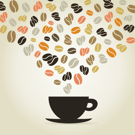 coffee cup vector: Coffee cup made of coffee grains. A vector illustration