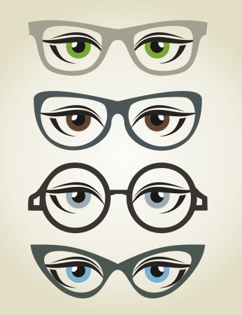 Eyes in glasses. A vector illustration Vector