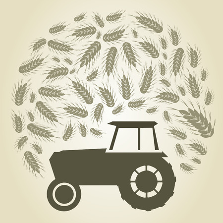 Tractor on harvesting. A vector illustration Vector