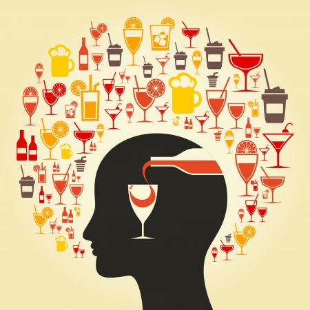 Alcohol choice in a head. A vector illustration Çizim