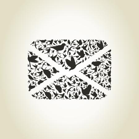 twitter: The letter from birds. A vector illustration Illustration