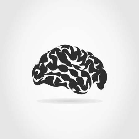 Brain on a grey background. A vector illustration Stock Vector - 23838898