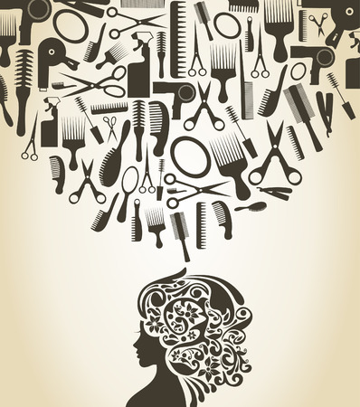 hairdress: The woman thinks of a hairdress. A vector illustration