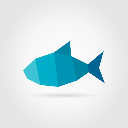 Blue fish on a grey background. A vector illustration