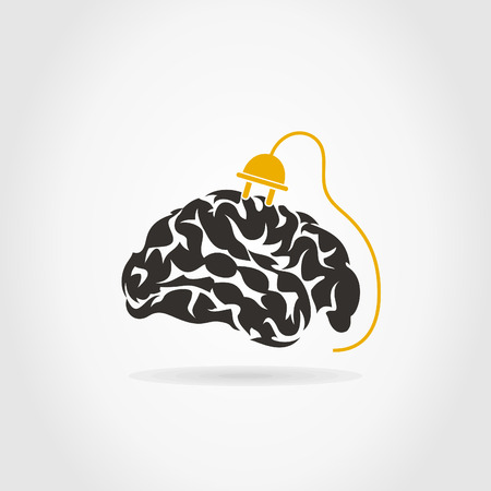Brain on a grey background. A vector illustration Stock Vector - 24018175