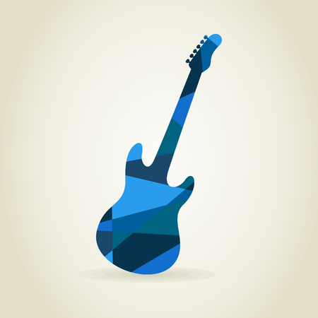 Abstract a blue guitar. A vector illustration Illustration