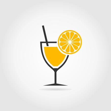 whisky bottle: Orange in alcoholic cocktail. A vector illustration Illustration
