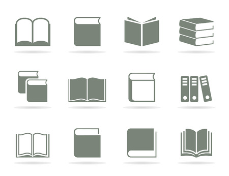 instruction manual: Set of icons of books. A vector illustration