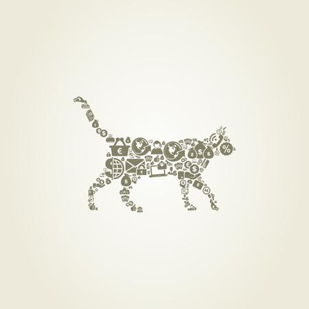money cat: Gato hecha de negocio. Una ilustraci�n vectorial