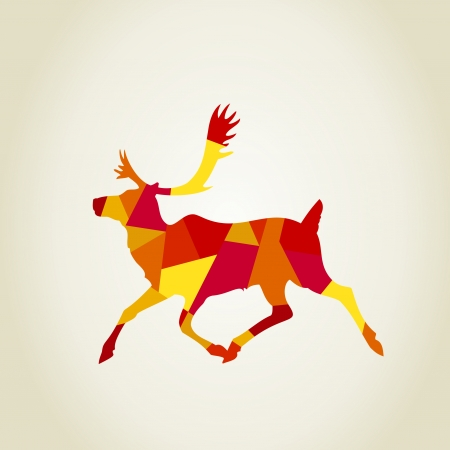 stag horn: Red scrappy deer. A vector illustration