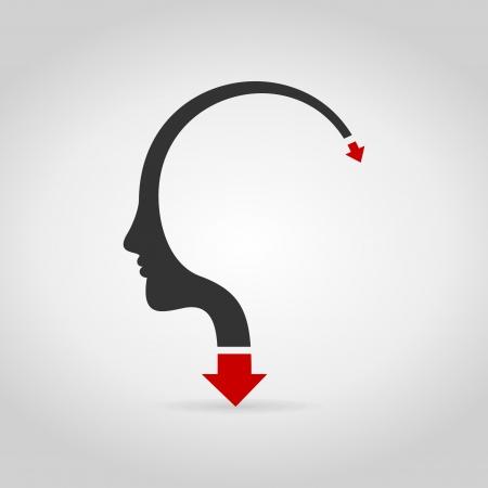 neanderthal man: The arrow goes heads. A vector illustration Illustration