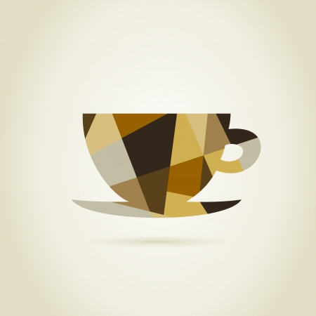 coffee plant: Coffee cup on a grey background. A vector illustration