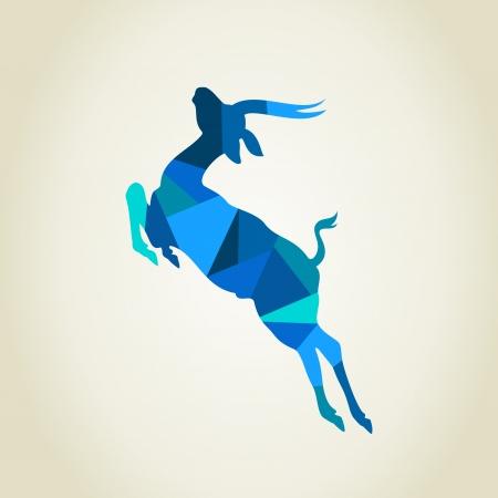 digital composite: Blue deer. A vector illustration