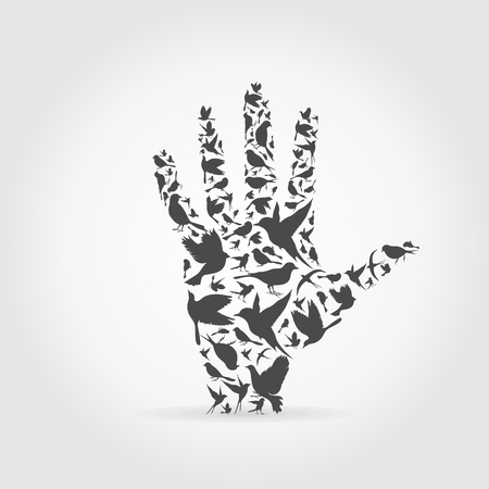 Hand made of birds. A vector illustration Vector
