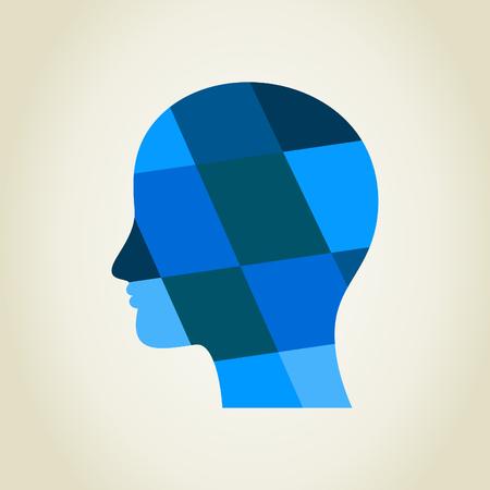Abstract dark blue head. A vector illustration Stock Vector - 24499484