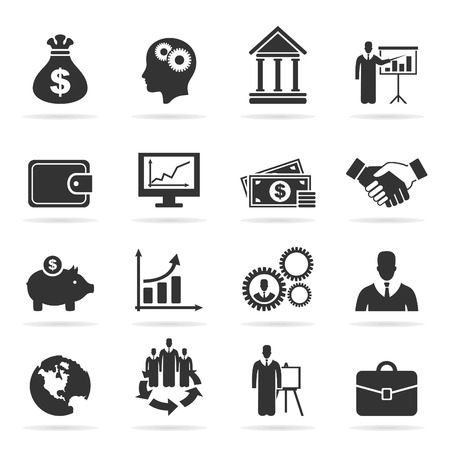 euro banknote: Set of icons business. A vector illustration