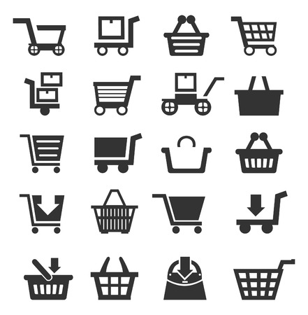 basket icon: Set of icons of sales. A vector illustration