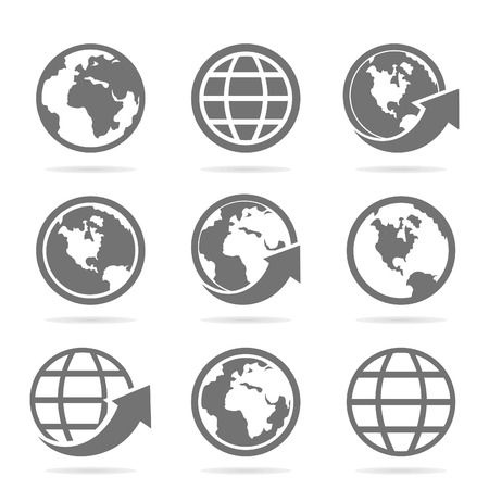 Set of icons of the world. A vector illustration Vettoriali