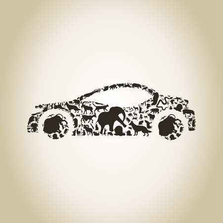 The car made of animals. A illustration