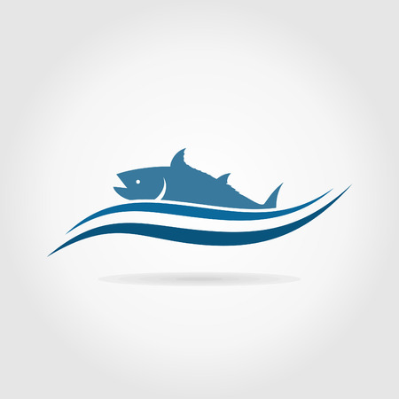 dolphin silhouette: Fish has come up from the sea. A illustration