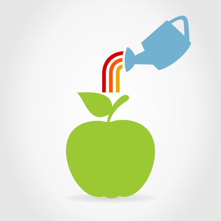 ripened: The watering can waters an apple. A illustration