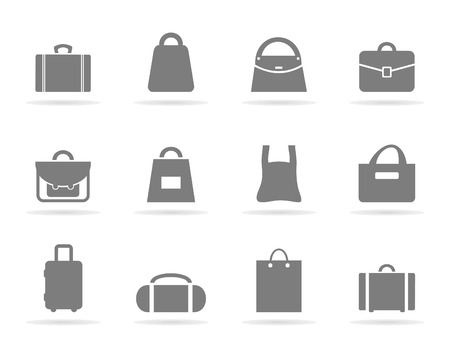 Set of icons of bags. A illustration Vettoriali