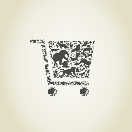 Cart made of animals. A illustration