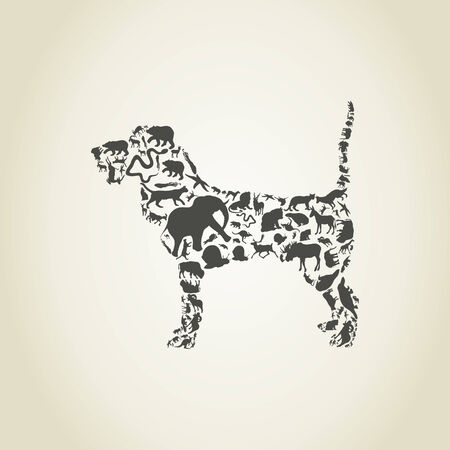 lion and lamb: Dog made of animals. A illustration
