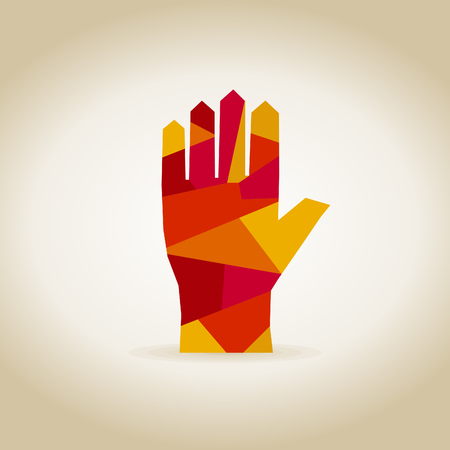 red hand: Abstract red hand. A illustration