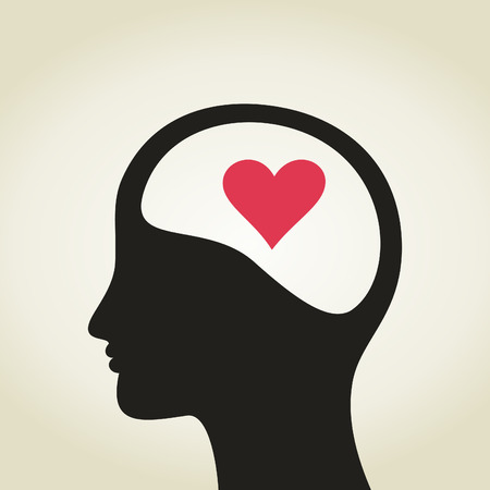 Heart in a head to the man. A illustration Vector