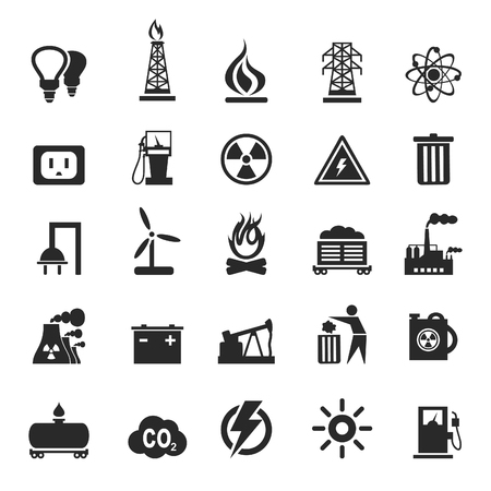 coal fire: Set of icons the industry. A illustration
