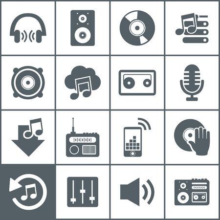 Set of icons music. A illustration Illustration