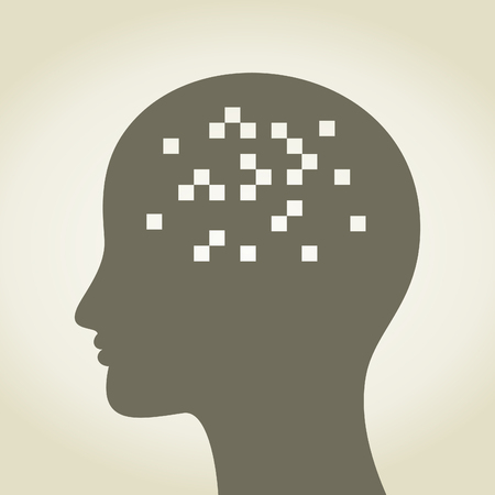 Square in a head. A illustration Stock Vector - 25200372
